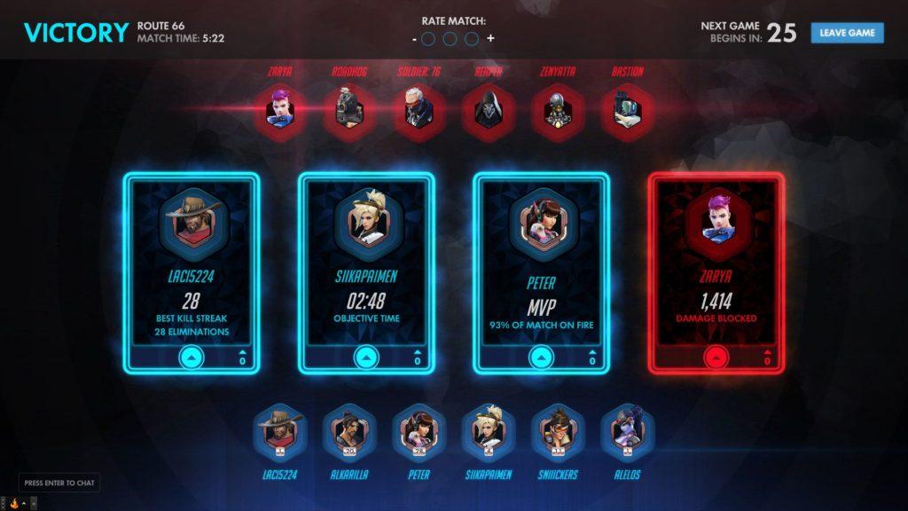 Overwatch - a meccs végén értékelhetőek a játékosok