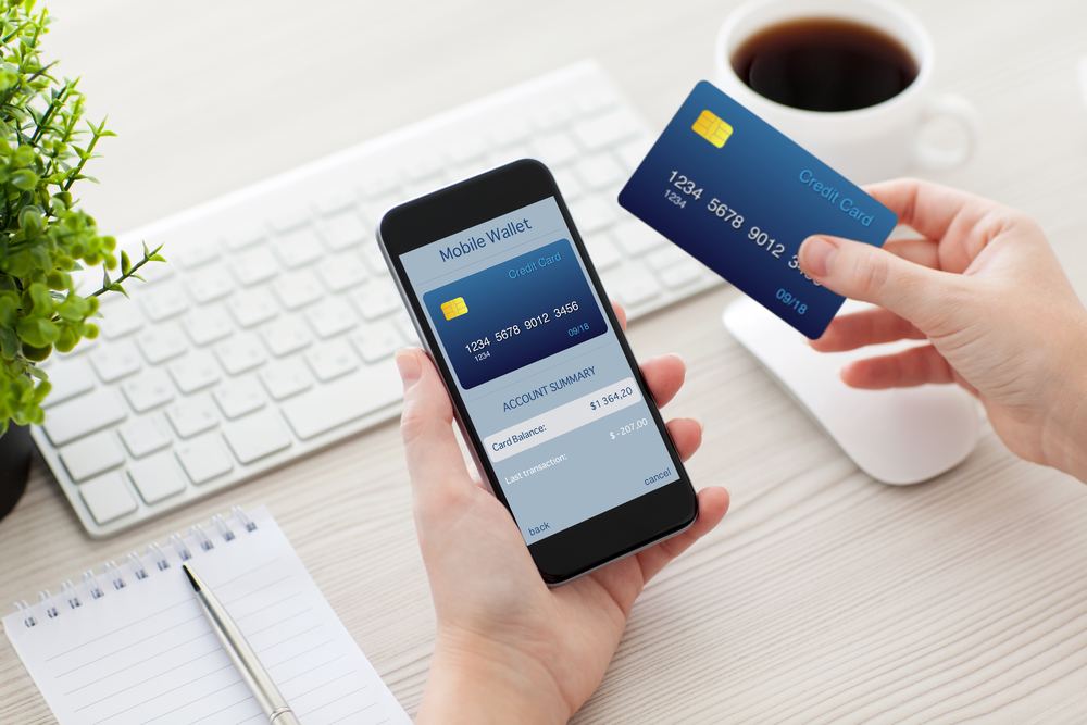female hands holding phone with mobile wallet for online shoppin
