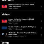 YouTube Music keresés Queen (2)
